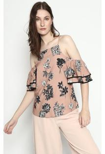 Blusa Floral - Bege & Preta - Mobmob