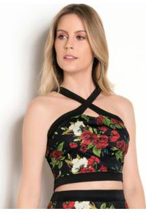 Cropped Floral Dark Com Transpasse No Decote