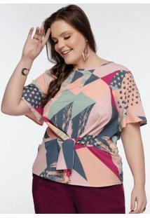 Blusa Plus Size Estampada Peplum
