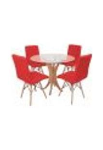 Conjunto Mesa De Jantar Tampo De Vidro 90Cm Com 4 Cadeiras Gomos - Vermelho