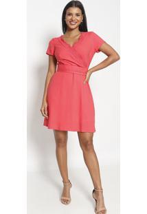 Vestido Transpassado Com Renda- Rosa- Vip Reservavip Reserva