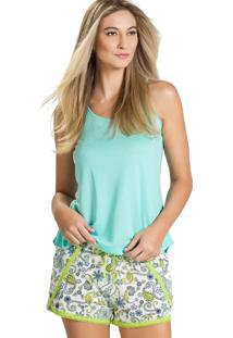 Pijama Curto Inspirate Arabesco Verde E Estampa