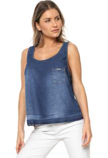 Regata Jeans Lunender Detalhe Bolso Azul