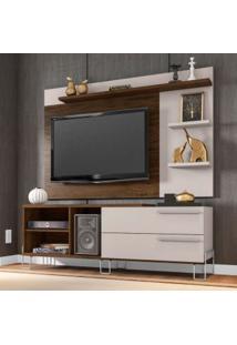 Rack Com Painel Para Tv Até 50 Polegadas Portugal Cedro E Nude 160 Cm