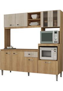 Cozinha Compacta Tati 8 Portas Carvalho E Blanche Com Tampo Fellicci