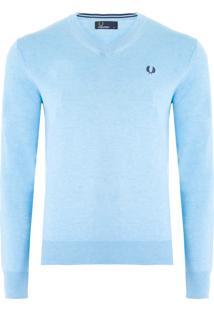 Blusa Masculina Classic Cotton V- Neck - Azul