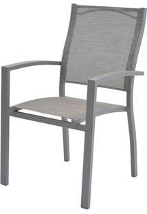 Cadeira Popis Com Bracos Tela Cinza Base Cinza - 38689 - Sun House