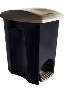 Lixeira De Plástico Com Pedal Plasútil Ecoblack Preto E Dourado 7L