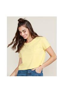 Blusa Feminina Básica Cropped Com Bolso Manga Curta Decote Redondo Amarela