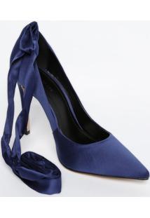 Scarpin Melissa Com Amarração - Azul Marinho - Saltole Lis Blanc