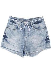 Short Jeans Cordão Barra Desfiada Puídos Besni Feminino - Feminino-Azul+Off White