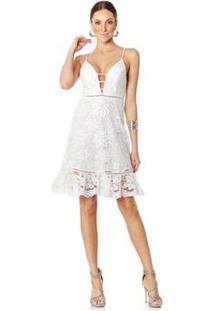 Vestido Lala Dubi Curto Guipir Barrado Ondas Feminino - Feminino-Branco