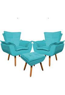 Kit 2 Poltronas Decorativas Pés Palito Com Puff Opla Suede Azul Tiffan