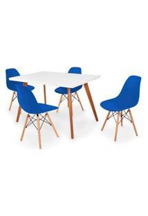 Conjunto Mesa De Jantar Gih 120X80Cm Branca Com 4 Cadeira Eames Eiffel - Azul