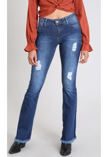 Calça Jeans Feminina Sawary Flare Com Rasgos Azul Escuro