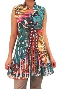 483398db5 Dafiti. Vestido Evasê Acinturado Moderno Estampado Chemise Laranja  Multicolorido Babado Babados Resort 101 Wear