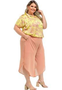 Blusa Almaria Plus Size Lenner Acetinada Amarelo