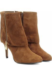 Bota Couro Shoestock Dobrada Zíper - Feminino-Caramelo