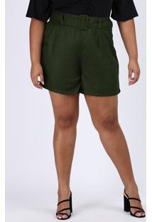 Bermuda Feminina Plus Size Cintura Alta Alfaiatada Com Cinto Verde Militar