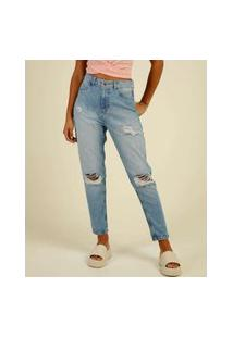 Calça Mom Jeans Destroyed Feminina Cintura Alta Marisa