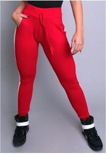 Calça Ribana Moletom Cintura Alta Mvb Modas Feminina - Feminino-Vermelho