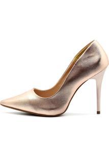 Scarpin Royalz Metalizado Salto Fino Penélope Rosé Dourado