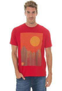 Camiseta Timberland Chevron Landscape Masculina - Masculino-Vermelho