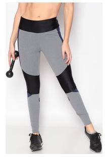 Body For Sure Legging Com Recortes Preta & Azul Marinho