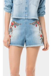 Shorts Cintura Alta Bordado Jeans - Lez A Lez