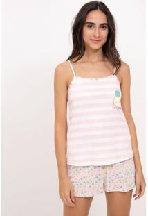 Pijama De Alcinha Listrado Estampa Abacaxi