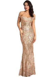 Vestido De Festa Longo Paetê Miss Ord Feminino - Feminino-Dourado