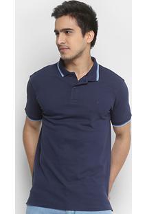 Camisa Polo Forum Piquet Elastano Masculina - Masculino-Azul Escuro