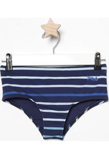 Calcinha Sunquíni Listrada Com Lycra® & Fps 50+- Azul Mafila