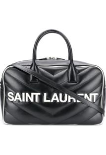 Saint Laurent Bolsa Matelassê Com Logo - Preto