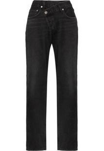 Agolde Calça Jeans Pantalona Com Detalhe No Cós - Preto