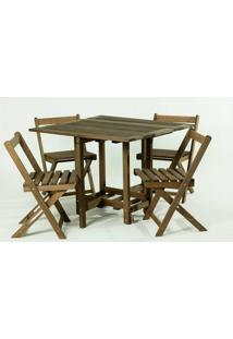 Conjunto 14 Bis Mesa Dobravel + 4 Cadeiras Estrutura Stain Nogueira - 61643 - Sun House