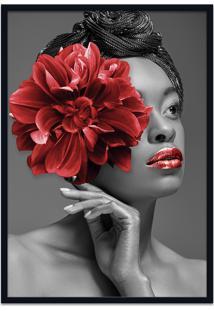 Quadro 60X90Cm Angela Mulher Com Flor Vermelha Nórdico Moldura Preta Sem Vidro