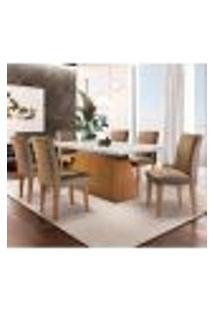 Conjunto De Mesa De Jantar Luna Com 6 Cadeiras Estofadas Grécia I Animalle Off White E Chocolate