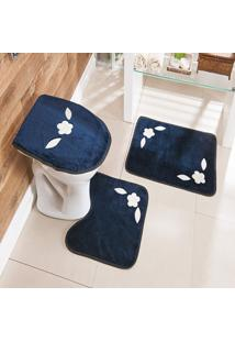 Jogo De Banheiro Bordado 3 Peças Antiderrapante Margarida Azul Marinho - Tricae