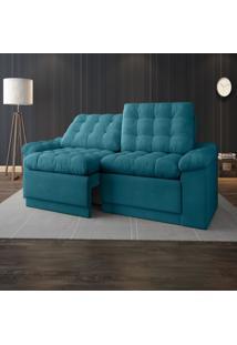 Sofã¡ 4 Lugares Net Confort Assento Retrã¡Til E Reclinã¡Vel Turquesa 2,20M (L) - Azul - Dafiti