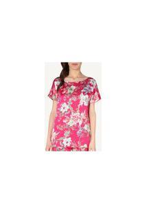 Blusa Em Cetim De Viscose E Modal In Full Bloom - Vermelho G
