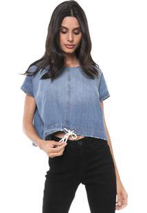 Blusa Jeans Cropped Colcci Amarração Azul