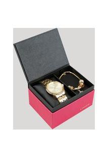 Kit De Relógio Analógico Lince Feminino + Pulseira - Lrg4552L Ku91C2Kx Dourado