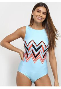 Body Acqua By Classic Regata Estampado - Feminino-Azul