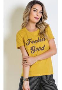 Blusa De Manga Curta Amarela Com Estampa Frontal