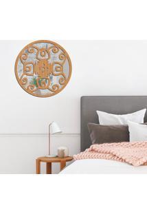 Escultura De Parede Wevans Mandala Rustica, Madeira + Espelho Decorativo -