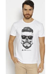 Camiseta Caveira- Branca & Pretavip Reserva