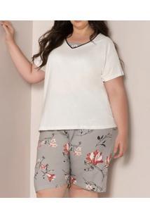Pijama Curto Floral 100% Algodão Pzama (90013) Plus Size