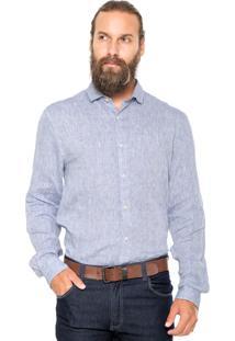 Camisa Linho Vr Básica Azul