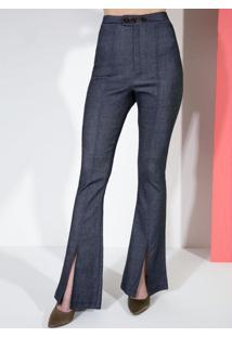 Calça Flare Jeans Com Fenda Frontal